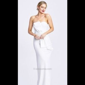 Adrianna papell strapless bow crepe gown